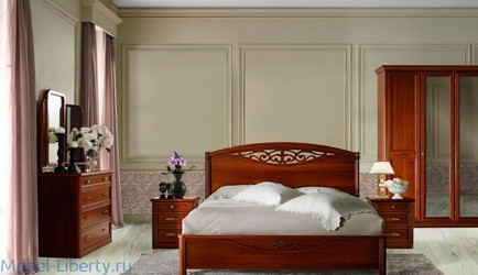Liberty: San Remo: кровать 160Х200 с резной вставкой без изножья (вишня)